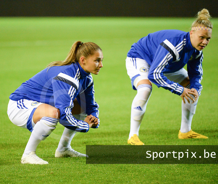 20150922 - LEUVEN ,  BELGIUM : Bosnia and Herzegovina's  Eldina Ahmic  pictured during the female soccer game between the Belgian Red Flames and Bosnia and Herzegovina , the first game in the qualification for the European Championship in France 2017  , Thursday 22 September 2015 at Stadion Den Dreef  in Leuven , Belgium. PHOTO DAVID CATRY