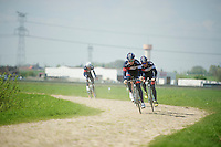 Dominic Klemme (DEU/IAM) and teammates testing the cobbles<br /> <br /> 2014 Paris-Roubaix reconnaissance