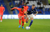 Huddersfield Town's Karlan Grant battles with Cardiff City's Aden Flint<br /> <br /> Photographer Ian Cook/CameraSport<br /> <br /> The EFL Sky Bet Championship - Cardiff City v Huddersfield Town - Wednesday August 21st 2019 - Cardiff City Stadium - Cardiff<br /> <br /> World Copyright © 2019 CameraSport. All rights reserved. 43 Linden Ave. Countesthorpe. Leicester. England. LE8 5PG - Tel: +44 (0) 116 277 4147 - admin@camerasport.com - www.camerasport.com