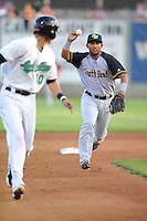 Jamie Westbrook #2 of the South Bend Silver Hawks chases down Clinton runner during pickoff attempt against the Clinton LumberKings at Ashford University Field on July 26, 2014 in Clinton, Iowa. The Sliver Hawks won 2-0.   (Dennis Hubbard/Four Seam Images)