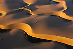 Namibia;  Namib Desert, small lakes between sand dunes next to Kuisib Rivert, aerial view