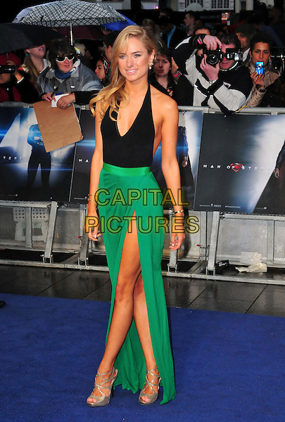 Kimberley Garner<br /> 'Man Of Steel' UK film premiere, Empire cinema, Leicester Square, London, England.<br /> 12th June 2013<br /> full length black halterneck top green skirt slit split silver shoes <br /> CAP/BF<br /> &copy;Bob Fidgeon/Capital Pictures