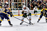 26 January 2019:  University of Vermont Catamount Forward Conor O'Neil, a Senior from Hummelstown, PA, in second period action against the Merrimack College Warriors at Gutterson Fieldhouse in Burlington, Vermont. The Catamounts defeated the Warriors 4-3 in overtime to take both games of their weekend America East conference series. Mandatory Credit: Ed Wolfstein Photo *** RAW (NEF) Image File Available ***