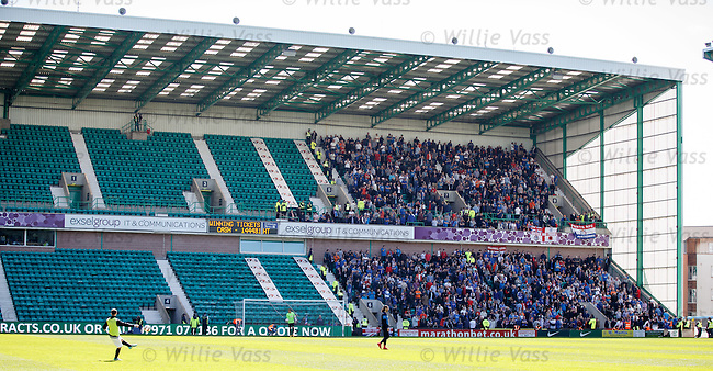 Rangers supporters crammed into less than half a stand at Easter Road