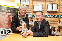 NO REPRO FEE.8/10/2011. Eason, Ireland's leading retailer of books, stationery, magazines and lots more, hosted a book signing by Jockey, Paul Carberry.  Pictured at Eason, O'Connell Street, Dublin is fan Anne Doran from Baldoyle with Paul Carberry who signed copies of his new autobiography One Hell of a Ride. Follow Eason on Twitter - @easons For further information, please contact: Aoife McDonald WHPR 087 4100777 . Picture James Horan/Collins Photos