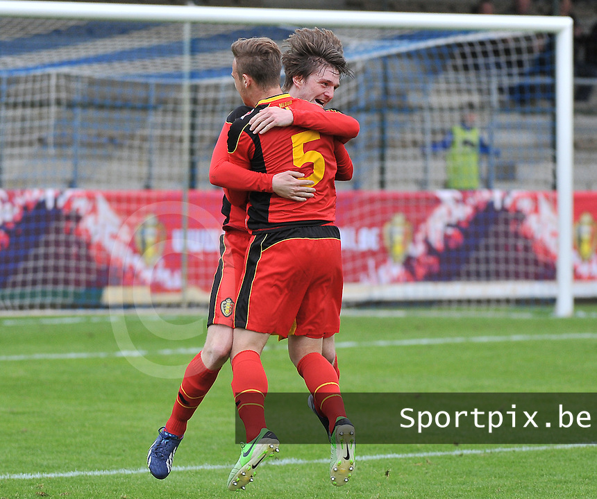 Belgium U19 - England U19 : Thomas Foket (7) celebrates his goal for Belgium 1-0 with Alexander Corryn (5).foto DAVID CATRY / Nikonpro.be