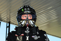 Sept. 22, 2012; Ennis, TX, USA: NHRA top fuel dragster driver Shawn Langdon during qualifying for the Fall Nationals at the Texas Motorplex. Mandatory Credit: Mark J. Rebilas-US PRESSWIRE