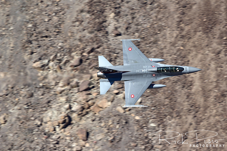 Royal Danish Air Force F-16 in flight over California's Mojave Desert.