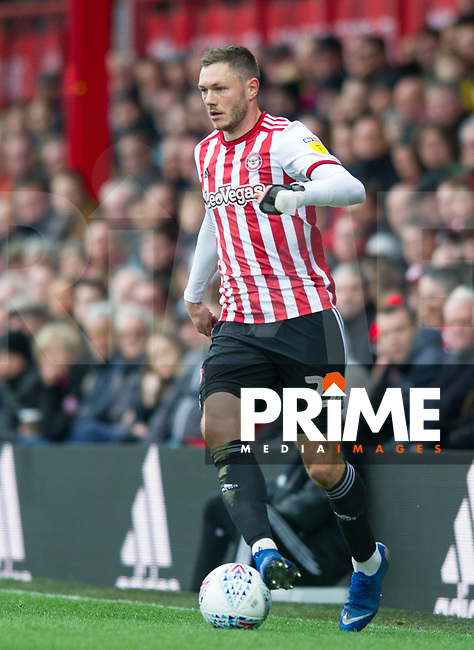 Brentford Henrik Dalsgaard during the Sky Bet Championship match between Brentford and West Bromwich Albion at Griffin Park, London, England on 16 March 2019. Photo by Andrew Aleksiejczuk / PRiME Media Images.