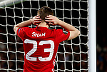 Luke Shaw of Manchester United reacts after missing a chance during the UEFA Europa League Quarter Final 2nd Leg match at Old Trafford, Manchester. Picture date: April 20th, 2017. Pic credit should read: Matt McNulty/Sportimage