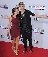 Justin Bieber and mom Patty at The 2012 American Music  Awards held at Nokia Theatre L.A. Live in Los Angeles, California on November 18,2012                                                                   Copyright 2012  Debbie VanStory / iPhotoLive.com