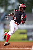 Batavia Muckdogs center fielder Isaiah White (18) during a game against the Staten Island Yankees on August 27, 2016 at Dwyer Stadium in Batavia, New York.  Staten Island defeated Batavia 13-10 in eleven innings. (Mike Janes/Four Seam Images)