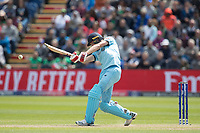 Chris Wakes (England) drives straight for four during England vs Bangladesh, ICC World Cup Cricket at Sophia Gardens Cardiff on 8th June 2019