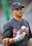 24 September 2011: Atlanta Braves outfielder Martin Prado awaits his turn in the batting cage prior to a game against the Washington Nationals at Nationals Park in Washington, DC. The Nationals defeated the Braves 4-1 to even up their 3-game series. Mandatory Credit: Ed Wolfstein Photo