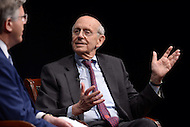 "Washington, DC - February 25, 2016: U.S. Supreme Court Associate Justice Stephen G. Breyer discusses the Court and his new book ""The Court and the World: American Law and the New Global Realities,"" during a discussion at the Newseum in the District of Columbia, February 25, 2016, held in conjunction with the Supreme Court Fellows Program. The event was moderated by NBC News correspondent Pete Williams.  (Photo by Don Baxter/Media Images International)"