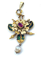 BNPS.co.uk (01202 558833)<br /> Pic: KidsonTrigg/BNPS<br /> <br /> £2500 - C17th Italian ruby & enamel flower pendant, central square cut ruby with white & green enamel decoration with bale set boroque pearl.<br /> <br /> Frozen Assets - Over a £100,000 of Renaissance era jewellry found under a frozen joint of lamb in a run down chalet bungalow is coming up for auction.<br /> <br /> Amazed auctioneers found the hidden gems in the ramshakle hoarders freezer near Uffington in Wiltshire - where the canny late owner had gone to great lengths to protect her precious haul.<br /> <br /> However, the hidden stash wasn't the result of a bank heist but belonged to an eccentric collector who amassed the items in the 1960s - and kept the receipts to prove it.<br /> <br /> She passed away recently and her family brought in experts to hunt out relics they knew their relative had hidden away over the years.