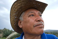 Tlachequero (field laborer). Hacienda Xochuca, Pulque route, Tlaxcala, Mexico June 5, 2007