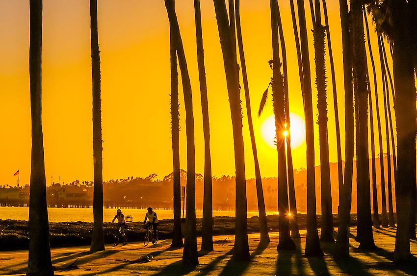 Bicycling along a path between Cabrillo Boulevard and East Beach, Santa Barbara, California USA.