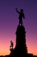 AJ0850, Canada, Ontario, Ottawa, Silhouette of Champlain Monument at sunset in Ottawa.