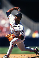 Tom Gordon of the Boston Red Sox during a game at Anaheim Stadium in Anaheim, California during the 1997 season.(Larry Goren/Four Seam Images)
