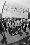 27 Jun 1971 --- Demonstrators carrying signs and banners during the second Gay Pride Parade in New York City. --- Image by © JP Laffont/Sygma/CORBIS