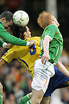 29 May 2008: Falcao Garcia (COL) (9) challenges for a header with Paul McShane (IRL) (6) and another Ireland defender. The Republic of Ireland Men's National Team defeated the Colombia Men's National Team 1-0 at Craven Cottage in London, England in an international friendly soccer match.