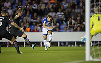 Adrian Popa of Reading scores via hitting Glenn Whelan (left) of Aston Villa to make it 1 0 during the Sky Bet Championship match between Reading and Aston Villa at the Madejski Stadium, Reading, England on 15 August 2017. Photo by Andy Rowland / PRiME Media Images.