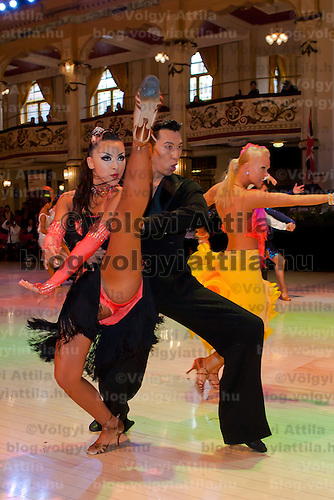 Kazu Komiya and Eri Hiraiwa from Japan perform their dance during the Professional Rising Stars Latin-american competition of the Blacpool Danca Festival in Blackpool, United Kingdom on May 27, 2011. ATTILA VOLGYI