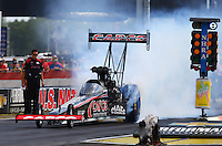 Aug. 31, 2013; Clermont, IN, USA: NHRA top fuel dragster driver Steve Torrence during qualifying for the US Nationals at Lucas Oil Raceway. Mandatory Credit: Mark J. Rebilas-