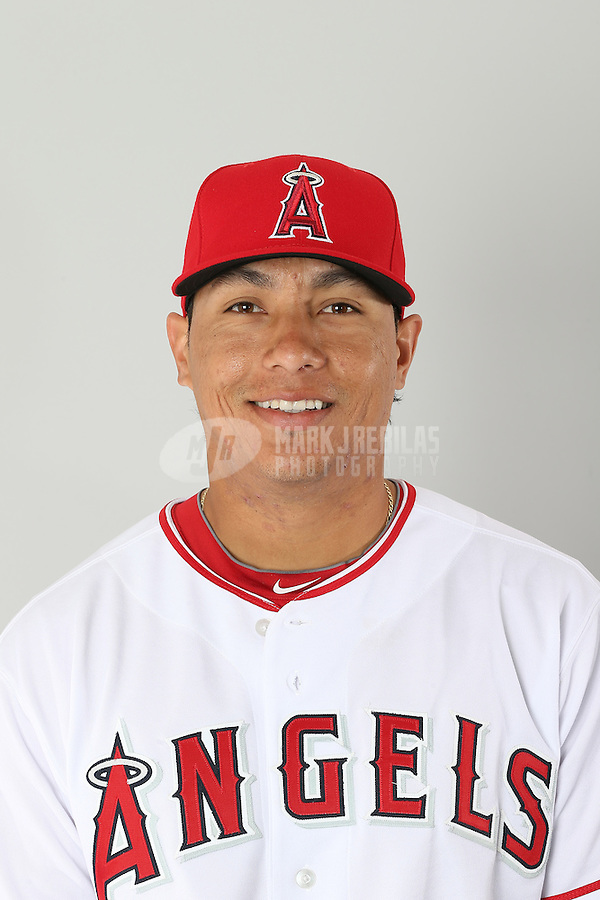 Feb. 21, 2113; Tempe, AZ, USA: Los Angeles Angels infielder Efren Navarro poses for a portrait during photo day at Tempe Diablo Stadium. Mandatory Credit: Mark J. Rebilas-
