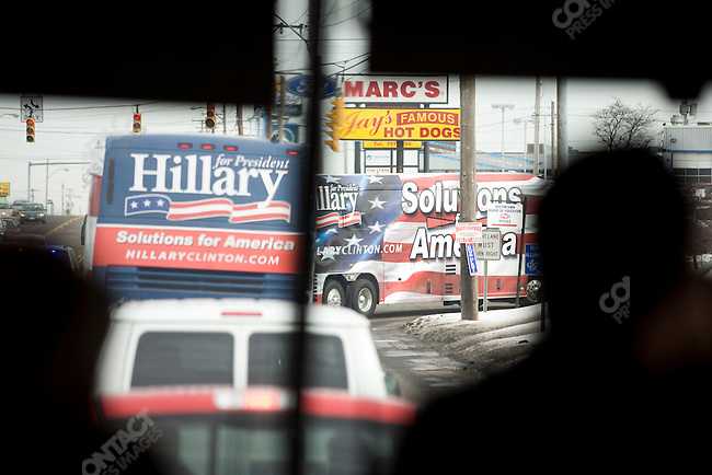 Senator Hillary Clinton's campaign bus, in the closing days of the Ohio and Texas Primary campaign, in Westerville North High School, Westerville, OH, and Austintown High School, Austintown, Ohio. March 2, 2008