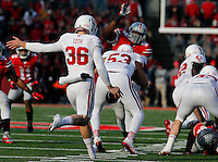 Indiana Hoosiers punter Erich Toth (36) kicks a field goal in the fourth quarter of their game at Ohio Stadium in Columbus, Ohio on November 22, 2014. (Columbus Dispatch photo by Brooke LaValley)