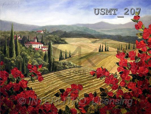 Malenda, LANDSCAPES, paintings, wild roses(USMT207,#L#) Landschaften, Schiffe, paisajes, barcos, llustrations, pinturas
