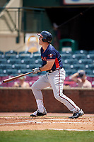 Rome Braves first baseman Austin Bush (48) follows through on a swing during a game against the Lexington Legends on May 23, 2018 at Whitaker Bank Ballpark in Lexington, Kentucky.  Rome defeated Lexington 4-1.  (Mike Janes/Four Seam Images)