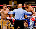 FEBRUARY 24 2006 The left eye of Fernando Vargas swells and the fight was called in the 10th by referee Joe Cortez.  Mosley was given the 10th round TKO victory of the junior middleweight fight at the Mandalay Bay Events Center on February 25, 2006 in Las Vegas, Nevada.