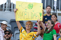 9th November 2019; Bankwest Stadium, Parramatta, New South Wales, Australia; International Womens Friendly Football, Australia versus Chile; Matildas fans celebrate their second goal in the 72minute for 2-0 - Editorial Use