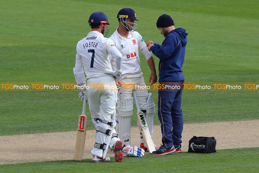 Ryan ten Doeschate of Essex has his arm bandaged after being struck by the ball during Sussex CCC vs Essex CCC, Specsavers County Championship Division 2 Cricket at The 1st Central County Ground on 18th April 2016