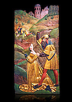 Painted panels of the Martyrdom of Saint Catherine painted in 1524 by Hans Gieng of Fribourg.  From the church of Ependes near Fribourg, Switzerland. Inv RF 4721 The Louvre Museum, Paris.