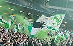 BETALBILD Solna 2015-03-07 Fotboll Allsvenskan AIK - Hammarby IF :  <br /> Hammarbys supportrar med flaggor och r&ouml;k under matchen mellan AIK och Hammarby IF <br /> (Foto: Kenta J&ouml;nsson) Nyckelord:  AIK Gnaget Friends Arena Svenska Cupen Cup Derby Hammarby HIF Bajen supporter fans publik supporters