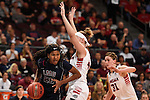 March 6, 2015; Las Vegas, NV, USA; Loyola Marymount Lions guard Sophie Taylor (20) dribbles the basketball against Gonzaga Bulldogs center Shelby Cheslek (44) during the second half of the WCC Basketball Championships at Orleans Arena.