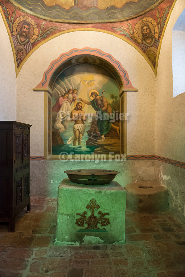 Painting (frescoe) of the Baptism of Jesus Christ, baptismal chapel and font, Mission San Gabriel Arcángel, forth of the 21 California Missions and founded by Father Junipero Serra, September 8, 1771.