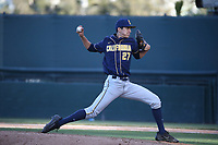 Rogeilo Reyes (27) of the California Bears pitches against the UCLA Bruins at Jackie Robinson Stadium on March 25, 2017 in Los Angeles, California. UCLA defeated California, 9-4. (Larry Goren/Four Seam Images)