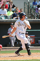 Charleston RiverDogs infielder John Murphy #3 at bat during a game against the Greenville Drive at Joseph P. Riley Jr. Ballpark  on April 9, 2014 in Charleston, South Carolina. Greenville defeated Charleston 6-3. (Robert Gurganus/Four Seam Images)