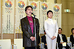 (L to R) Yoshiko Kamo, Erika Akiyama, FEBRUARY 28, 2013 : Tokyo Olympic and Paralympic Games 2020 bidding committee held the conclusion of a cooperation with a university and Tokyo agreement ceremony .in order to advance the bidding activities of Tokyo Olympic and Paralympic Games 2020. at Tokyo Metropolitan Government Office in Tokyo, Japan. (Photo by Jun Tsukida/AFLO SPORT)