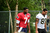 Wednesday August 10, 2016: New England Patriots quarterback Jacoby Brissett (7) walks to practice with New Orleans Saints wide receiver Jared Dangerfield (85) at a joint training camp practice between New England Patriots and  the New Orleans Saints  training camp held Gillette Stadium in Foxborough Massachusetts. Eric Canha/CSM