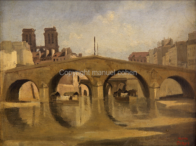 Le vieux Pont Saint-Michel or The Old Pont Saint-Michel, Paris, France, c. 1823-24, oil on canvas-backed paper, by Jean-Baptiste Camille Corot, 1796-1875, French artist, in Le MUDO, or the Musee de l'Oise, Beauvais, Picardy, France. Picture by Manuel Cohen