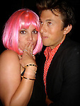 7-6-07 Exclusive around 1am.Britney Spears wearing a hot pink wig at the Chateau Marmont Hotel bar in Hollywood. Pictured with actor Chris Blasman and body gaurd Damon shipmen. They went to the bar with some friends to have a good time..