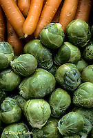 HS22-011b  Brussel Sprouts - harvested, with carrots - Jade Cross variety