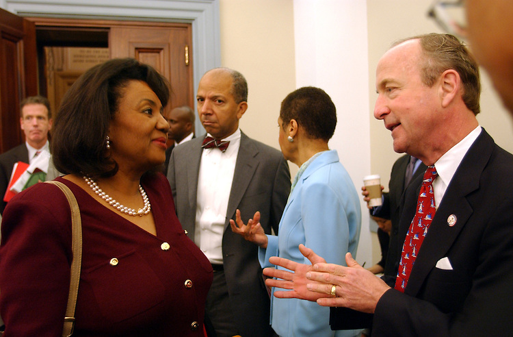 DC2_060403 -- Linda Cropp, chairman, District of Columbia Council, Anthony Williams, Mayor, District of Columbia,  Eleanor Holmes Norton, D-D.C., and Chairman Rodney P. Frelinghuysen, R-N.J., during the subcommittee hearing on the District of Columbia 2004 budget request.