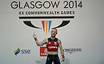Wales Gareth Evans in action during todays session<br /> <br /> Photographer Ian Cook/Sportingwales<br /> <br /> 20th Commonwealth Games - Weightlifting - Men's 62Kg -  Day 2 - Friday 25th July 2014 - Glasgow - UK